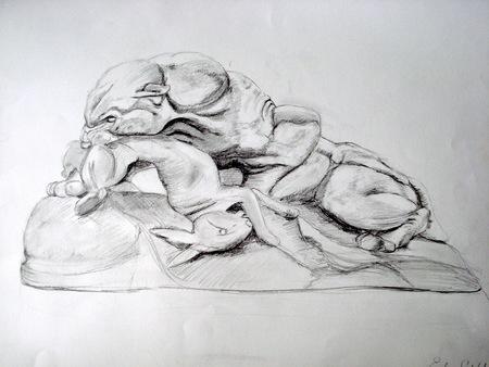 etude-dessin-Antoinde Louis Barye